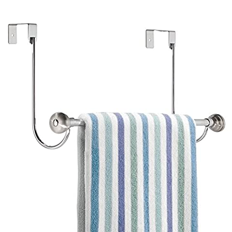 mDesign Over-the-Shower Door Towel Rack Bar for Bathroom - Chrome/Stainless Steel