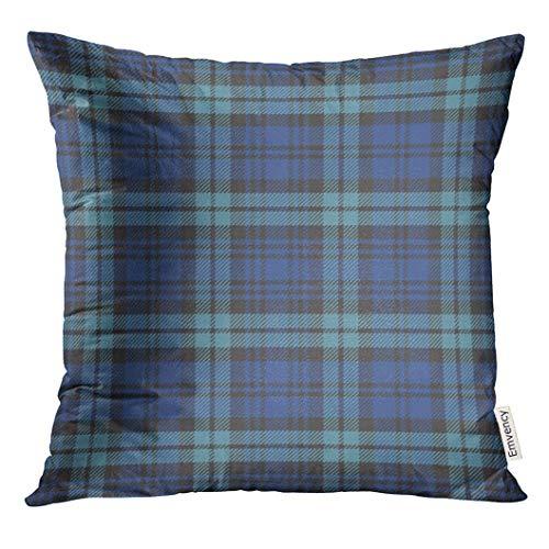 lack Watch Plaid Blue Tartan Preppy Decorative Pillow Case Home Decor Square 18x18 Inches Pillowcase ()