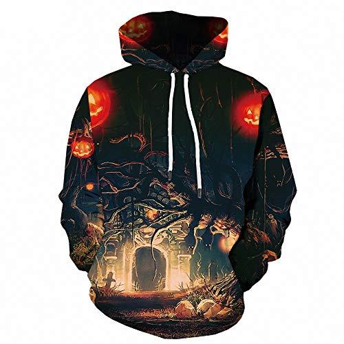 WANLN Hoodie 3D Print Sweatshirt Hoodie Halloween Kürbis Thema Unisex Langarm (Bruder Und Schwester Themen Kostüm)