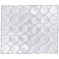 Kurtzy 30 vasetti di plastica per cosmetici vuoti contenitori per creme per ombretti contenitori per contenitori per contenitori - scatola di plastica trasparente con divisori per vasetti rimovibili