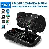KOBWA Smartphone Halterung Auto Armaturenbrett Kfz HUD Navigation Head Up Display mit Drahtlose Ladegerät-Auto Wireless Charger Auto Handyhalterung