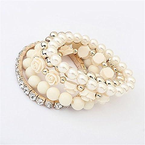 Starvy (TM) 1 Set Rosa acrilico Fiore rotonda perla brillante di cristallo del braccialetto elastico Apr8
