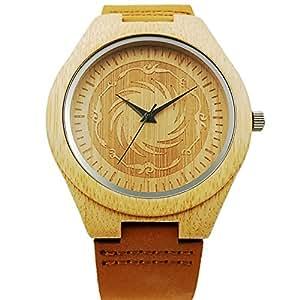 Nuovo orologio a mano in legno quarzo occasionale orologio da polso regali (Nero) (nero)