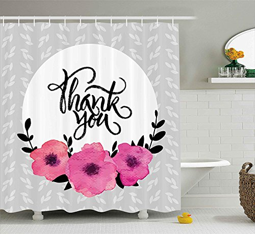 Bronze Ivy Leaf (XIAOYI Modern Decor Shower Curtain, Rounded Thank You Quote Above Purple Flowers Behind Leaf Ivy Background, Fabric Bathroom Decor Set with Hooks, 60W X 72L Inches Extra Long, Grey and White)