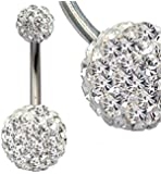 crystal:surgical steel Swarovski crystals belly bar packed in a gift box - shipped from UK, delivery 2-3 days