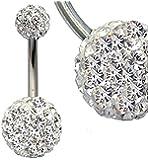 Damen Bauchnabelpiercing Titan Grade 23 Nickel freie mit Kristallen Kugel 6MM und 9MM Größe 12MM Transparent