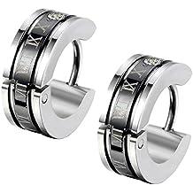 Flongo orecchini uomo in acciaio romatico lettering schema cerchio forma nero per natale San Valentino