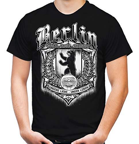 Für Immer Berlin Männer und Herren T-Shirt | Sport Fussball Stadt Fan (3XL, Schwarz Druck: Weiß)