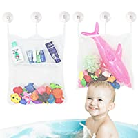 TOYMYTOY Baby Toy Storage Bag Toy Storage Mesh Bag Bath Toy Organizer 2Pcs Hanging Mesh Net Storage Bags with 6 Strong Suction Hooks