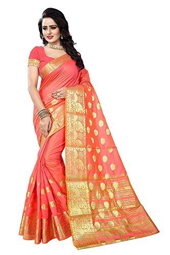 Ansh Boutique Women's Chanderi Cotton Saree With Blouse Piece (Peach)