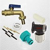 FixtheBog 20 mm MDPE Kit per rubinetto da esterni, da parete, in plastica, con raccordi per tubo flessibile da giardino, a &