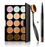 Feng Professional 15 Colors Contour Face Cream Concealer Palette + Makeup Blusher Toothbrush Curve Foundation Brush