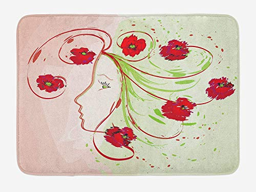 CHKWYN Watercolor Flower Bath Mat, Girl Profile Poppies Floral Hair Watercolor Effect Artistic Design Print, Plush Bathroom Decor Mat with Non Slip Backing, Green Red,20X31 inch