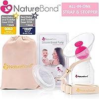 Extractor de leche NatureBond de silicona, manual, con tapa todo en uno, bolsa de transporte, sellado al vacío, caja de regaloSin BPA. 100 % silicona de grado alimenticio.