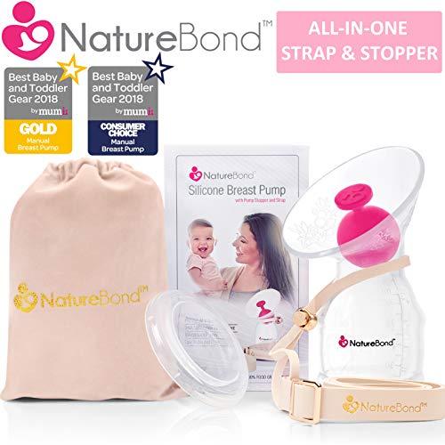NatureBond milchpumpe silikon stillen manuelle handmilchpumpe brustpumpe, All-In-1 Deckel, Beutel, luftdicht Vakuum versiegelt