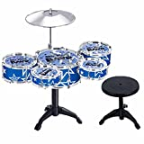 SAISAN Plastic 5 Jazz Drums Set for Kids, Multicolour (TH699-2) - Pack of