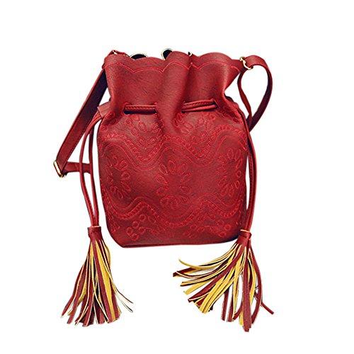 Hrph Weinlese -Troddel-Frauen Handtaschen aus Leder Eimer Taschen Damen Cross Body-Umhängetasche Red