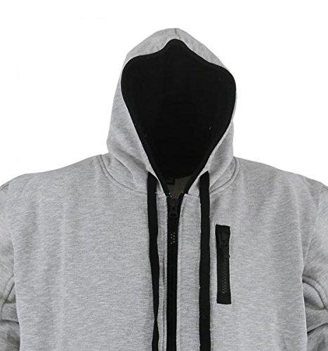 Klassische Sweatshirt Jacke mit Kapuze in Übergröße von Lavecchia in den Größen 3XL bis 8XL Grau