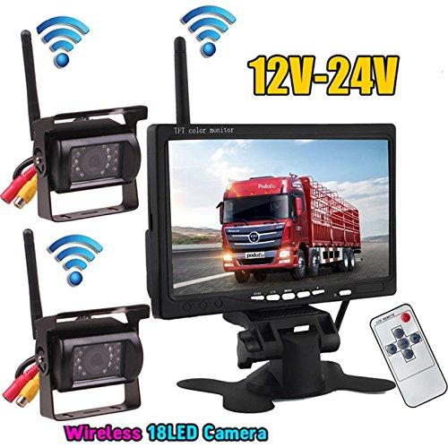 2 x Wireless 18LEDs IR Nacht Vision Wasserdicht Backup Kamera + 2.4 G Wireless 17,8 cm Farbe TFT LCD Monitor für Wohnmobil-Bus Truck Trailer 12 V-24 V (Einen Trailer Für)