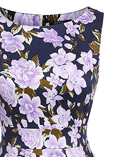 Azbro Women's Vintage A-Lline Sleeveless Floral Print Pleated Dress Purple