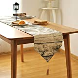 Di Grazia Abstract Wood Print Linen Table Runner with Tassel, Pastel Brown (30*210 cms)