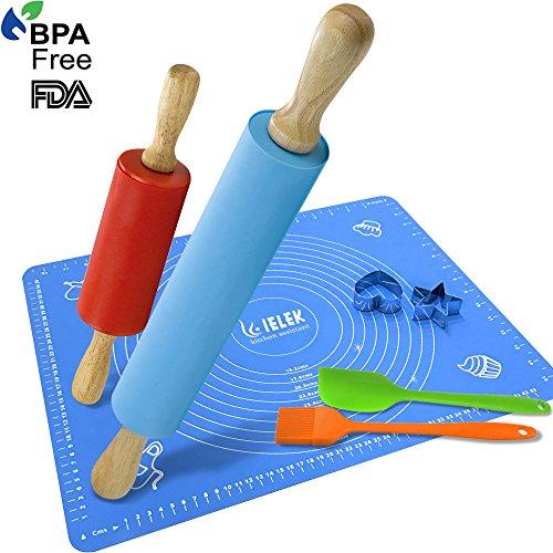 Rodillo y espátula de silicona hilván Pincel de pastelería Set: Combo Kit de grandes y pequeños rodillos amasar y 2cortadores de galletas de acero inoxidable de silicona antiadherente para hornear