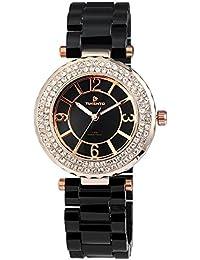 Reloj analógico Timento, plástico, diámetro 40 mm, oro rosa negro - 510031000021