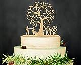 mttheaw Herr und Frau Tortenaufsatz Holz Hochzeit Tortenaufsatz Funny Braut und Bräutigam mit Blossom Baum rustikal Tortenaufsatz