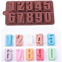 feiliandajj número 0 – 9 molde de silicona Ice Cube bandeja para Chocolate de jabón bandeja