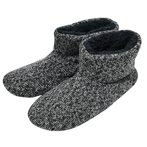 6786c5c43ec0 KuaiLu Knit Wool Warm Men Indoor Pull On Cosy Memory Foam Slipper Boots Booties  TPR