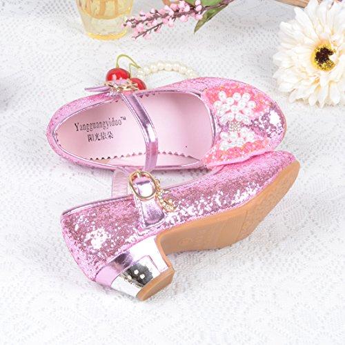 O&N Prinzessin Gelee Partei Absatz-Schuhe Sandalen für Kinder Glanz Prinzessin Rosa