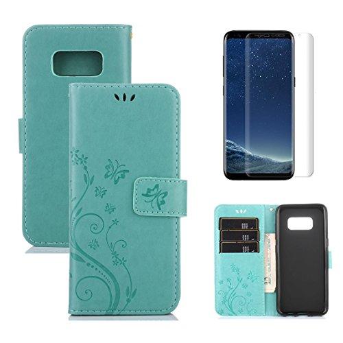 OYIME Tasche für Samsung Galaxy S8 Hülle Leder und Displayschutzfolie Grün Blumen und Schmetterling Muster Handyhülle zum Klappen Klappbar Magnet Kartenfach Vollschutz Klapphülle Original -