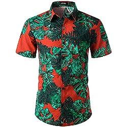 JOGAL Camisa Hawaiana Informal con Flores para Hombre Green Leaves 3XL