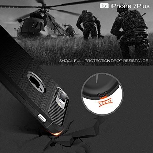 Coque iPhone 8 PLUS, XiDe Housse Antichoc Case Luxe Silicone Coque Ultra Mince Etui Cover Housse de Protection avec Anti-dérapante Anti-rayure Fibre de Carbone pour iPhone 8 PLUS - Menthe Verte Rouge