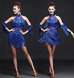 Frau Latin Tanz / Performance Quaste Kleid / Pailletten Bühnenbild Kostüm , l , blue