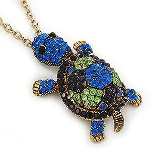 Vert clair, saphir bleu foncé et cristaux Swarovski, pendentif tortue avec longue chaîne ton doré-longueur 70 cm/Extension 5 cm