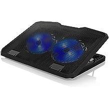 CSL - 15,6 Zoll Notebook Cooling-Pad Silent | Notebook Kühler / Laptop Lüfter / Notebook Cooler | 2x USB-Port Typ A | blaue LEDs | Metallgitter-Oberfläche | 6 verschiedene Neigungseinstellungen