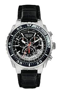 Nautica N-A14678G - Reloj de cuarzo para hombre, con correa de cuero, color negro de Nautica