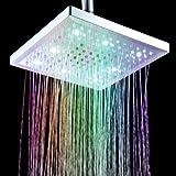 """Anself soffione 8 """"pollice quadrato 7 colori che cambiano LED Doccia Testa di spruzzatore per il bagno per renderlo fantastico."""