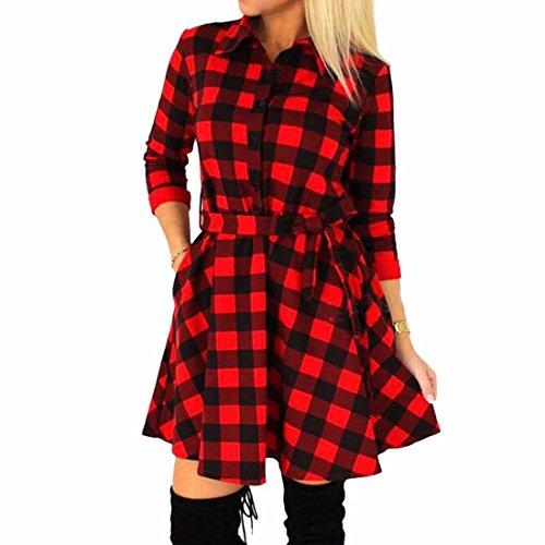 Lady Bandage Clubwear Black & White Plaid Slim manches longues col en V-robe Rouge