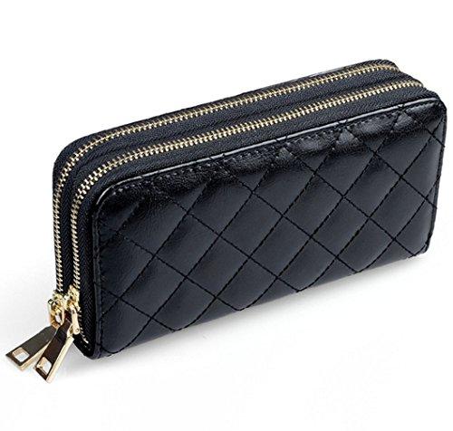 SM Dual Reißverschluss Grid Elegante Damen Leder Wallet Lange Reißverschluss Geldbörse Karte Kupplung (Schwarz)