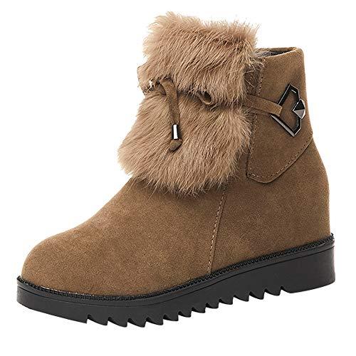 UFACE Damen Flache Schuhe Plüsch Schneestiefel Wildleder Reißverschluss Stiefel Runde Kappe Warm Stiefel