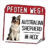 Siviwonder Auto Aufkleber AUSTRALIAN SHEPHERD MOTIV 2 PFOTEN WEG Hundeaufkleber REFLEKTIEREND REFLECTIVE