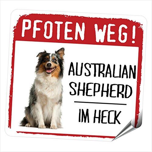 Siviwonder AUSTRALIAN SHEPHERD MOTIV 2 PFOTEN WEGkleiner Auto Aufkleber Hundeaufkleber REFLEKTIEREND REFLECTIVE -