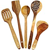 WOODEN Multipurpose Serving And Cooking Spoon Set For Non Stick Spoon For Cooking Baking Kitchen Tools Essentials Wooden Non Stick Spatulas & Ladles Wooden Spoon Set Of 5 | 1 Frying, 1 Serving, 1 Spatula, 1 Chapati Spoon, 1 Desert For Kitchen & Di