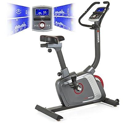 Premium HAMMER Ergometer Heimtrainer Ergo-Motion BT – APP Steuerung für Smartphone - Bluetooth Anbindung - 22 Trainingsprogramme - 12 Berg- und Talprofile - 4 Herzprogramme - LCD-Colour-Display - Push & Turn-Drehknopf - Fahrrad Trainer - Fitness-Bike von