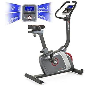 HAMMER Premium Ergometer Heimtrainer Ergo Motion BT, APP Steuerung für Smartphone, Bluetooth Anbindung, 22 Trainingsprogramme, 12 Bergprofile und Talprofile, 4 Herzprogramme, LCD Colour Display