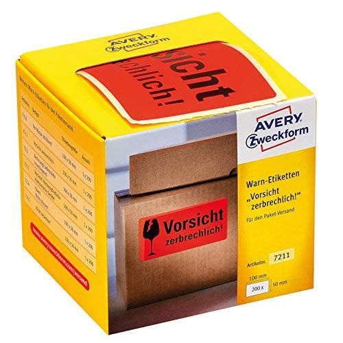 AVERY Zweckform Warnetiketten 7211 Vorsicht zerbrechlich (neon rot, 100 x 50 mm, 200 Etiketten auf Rolle) im Kartonspender