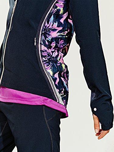 Elle Sport Veste tissée pour femmes avec détails en maille dans le dos Fermeture Éclair gris - Black/Multi-Colour/Purple/Blue/White/Pink/Grey