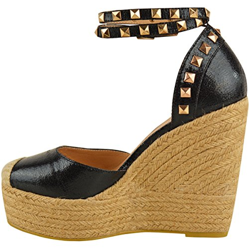 NUOVO Donna Alto tacco con zeppa sandali con plateau cinturino alla caviglia, estivo Espadrillas Taglia nero similpelle pieghe